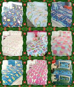 Kids Childrens Boys &Girls Single Bed Duvet Cover & Pillowcase Set Multi Listing