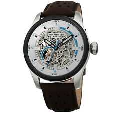 Akribos XXIV Automatic Skeleton Dial Crocodile Embossed Leather Strap Watch
