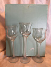 Collectible Partylite Iced Crystal Trio Candle Holders 3 Pc Set In Original Box