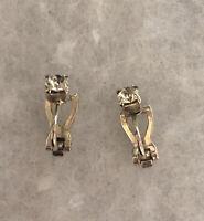 Vintage Clip On Earrings 1980s Glass Paste Stones Jewellery Jewelry Retro Old
