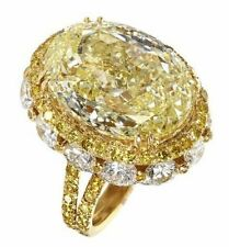 20ct Cocktail Party Ring 925 Sterling Silver Yellow Oval Spilt Shank Jewelry Cz