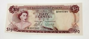 1965 Bahamas 1/2 Dollar Note Uncirculated Condition Pick #17