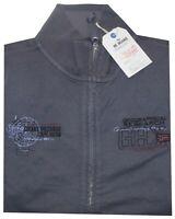 MAGLIA FELPA UOMO M L XL XXL 3XL giacca zip blu delavè cotone Be Board tinta