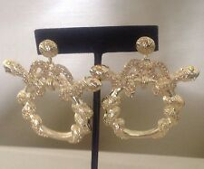 New Basketball Wives Inspired  Gold Snake Wrap Swarovski Hoop  Fashion