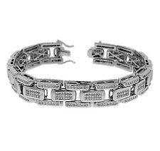 14K White Gold 4.50ctw PRINCESS & ROUND Diamond Men's Bracelet