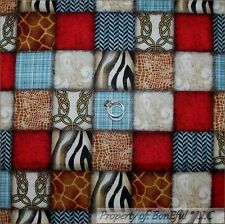 BonEful Fabric Cotton Quilt Block B&W Red Blue Brown African Giraffe Zebra SCRAP