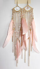 Forever 21 Beautiful Beads+ Nude Tone Gold Tone Chains Natural Feather Earrings