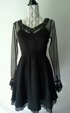 Free People Long Sleeved Victoria Mini Dress Fit n Flare Black Size 0 EXQUISITE