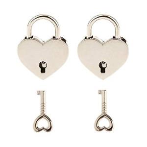 2 Pieces Small Metal Heart Shaped Padlock Mini Lock with Key for Jewelry Box Box