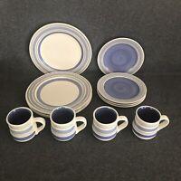 Pfaltzgraff RIO Set of 4 Dinner Plates, 4 Salad Plates, & 4 Mugs Blue Bands