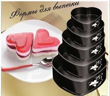 New 5pcs Heart Shaped Spring Form Non Stick Wedding Baking Cake Tins Pan Set