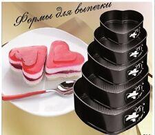 New 5pcs Heart Shaped Spring Form Non Stick Wedding Baking Cake Tins Pan Set