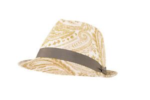 Wigens NWT Trilby Hat in White w/ Olive Paisley Size 59, 7 & 3/8ths