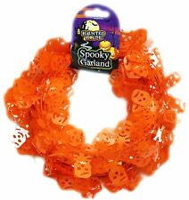 Halloween Skull Head Tinsel Garland Wreath Bunting Decoration ~ Orange