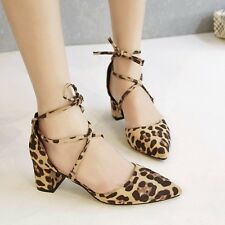 Women's Sexy Leopard Print Pointy Toe Bandage Mid Block Heel Strappy Suede Shoes