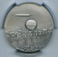 Germany Zeppelin Trips to Nurnberg Matte Ag Medal 1909 Art Deco Augury PCGS SP66