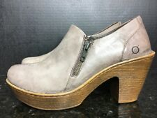 Born Women Taupe  Leather Double Side Zip Booties Size 9.5 Shoes Clog Heels