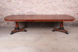 Kindel Furniture Neoclassical Mahogany Double Pedestal Extension Dining Table