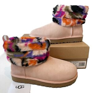 Women's UGG Boots Pink Size 5 6 Fluff Mini Quilted Suede EU 38 39