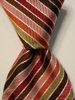 CHARLES TYRWHITT Men's Silk XL Necktie ENGLAND Luxury STRIPE Multi-Colored EUC