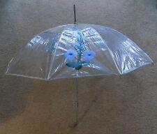 Vintage Clear Plastic Umbrella Painted Blue Flowers Lucite Handle
