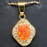 Vintage Orange Australian Fire Opal Necklace Women Birthday Jewelry Gift Box