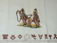 Western Team Roper  Brands Dish towel embroidered cowboy horse cotton towel