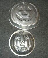 1975 1981 #502-2928 2 Wilton Aluminum Cake Pans Mold Halloween Pumpkin #503-598