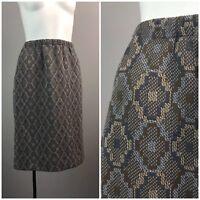 Vintage NOS 60s Gray Diamond Tapestry High Waist Pencil Skirt Snakeskin Unworn S