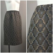 Vintage NOS 60s Gray Diamond Tapestry High Waist Pencil Skirt Snakeskin Unworn S