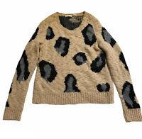 Anthropologie Sleeping On Snow Leopard Print Sweater Pullover Boucle Italy M