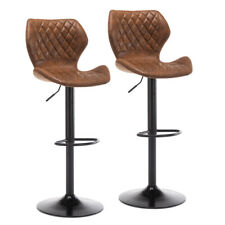 Pu Leather Bar Stools Height Adjustable Bar Chairs Kitchen Pub Brown Set of 2 Us