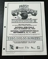"1983 Pabst Blue Ribbon Beer Ad Slick ""NATIONAL TEAM BOWLING Championship III"""