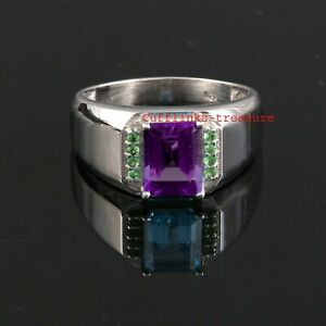 Natural Amethyst & Tsavorite Garnet Gemstones with 925 Silver Ring For Men's