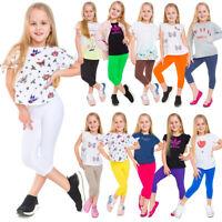 Girls Capri Soft Cotton Leggings Kids Stretchy 3/4 Pants Age 2-13 Years CHILD34