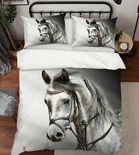 3D Animal White Horse Kep9291 Bed Pillowcases Quilt Duvet Cover Kay