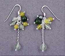 925 ECHT SILBER *** Ohrringe grün Jade, Quarz, SWZ-Perlen