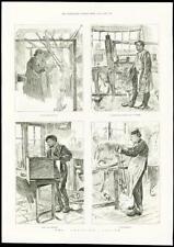 1888 - PRINT - LONDON SWEATING SYSTEM HAIR SIEVE WEAVING BIRD CAGE MAKING (265)