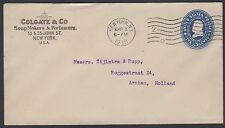 1910 5c entire w/Colgate & Co. advertising corner card sent to Arnhem, Holland