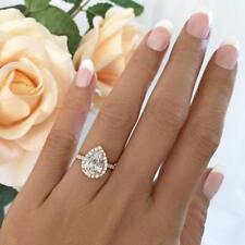 Engagement Ring 14k Rose Gold Gp Jewelry 2.50 Ct Pear Cut Halo Diamond Wedding