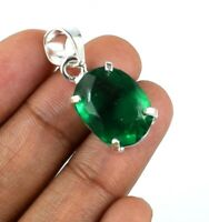 925 Sterling Silver Pendant Muzo Emerald 12.60 Ct Oval Natural Certified G7978