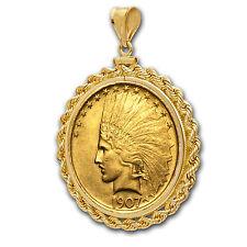 $10 Indian Gold Eagle Pendant - Rope-Screw Top Bezel - Random Year - SKU #63493