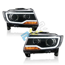 For 2011-2013 Jeep Grand Cherokee HID Headlights Front Bumper LED Bi-xenon Lamps