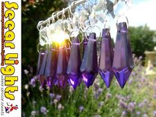 PURPLE TORPEDO CRYSTALS CHRISTMAS TREE DECORATION BEADS DROPS 6 DROPLETS PRISMS