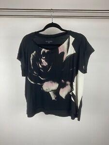 Allsaints Black Floral Graphic Relaxed Fit Cap Sleeve Cotton T Shirt UK M