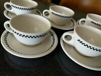 10 pc STERLING CHINA CHECKERBOARD COFFEE CUPS SAUCERS  RESTAURANT WARE  CHECKERS