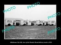 OLD POSTCARD SIZE PHOTO OKLAHOMA CITY OK USA THE WONDER BREAD TRUCKS c1950