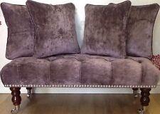 Footstool Plus 4 Cushions In Laura Ashley Caitlyn Grape Fabric