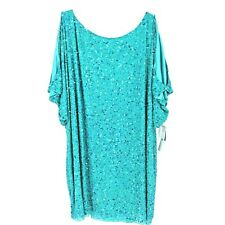 NWT Aidan Mattox Women's Sequined Shift Dress Cold Shoulder Size 22W Turquoise
