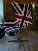 Aviator Aluminium Chair with Union Jack Fabric - Aeroplane / Aviation Style